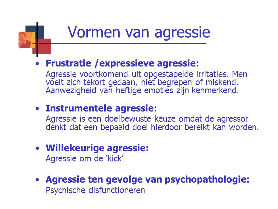 Vormen van agressie Frustratie /expressieve agressie: