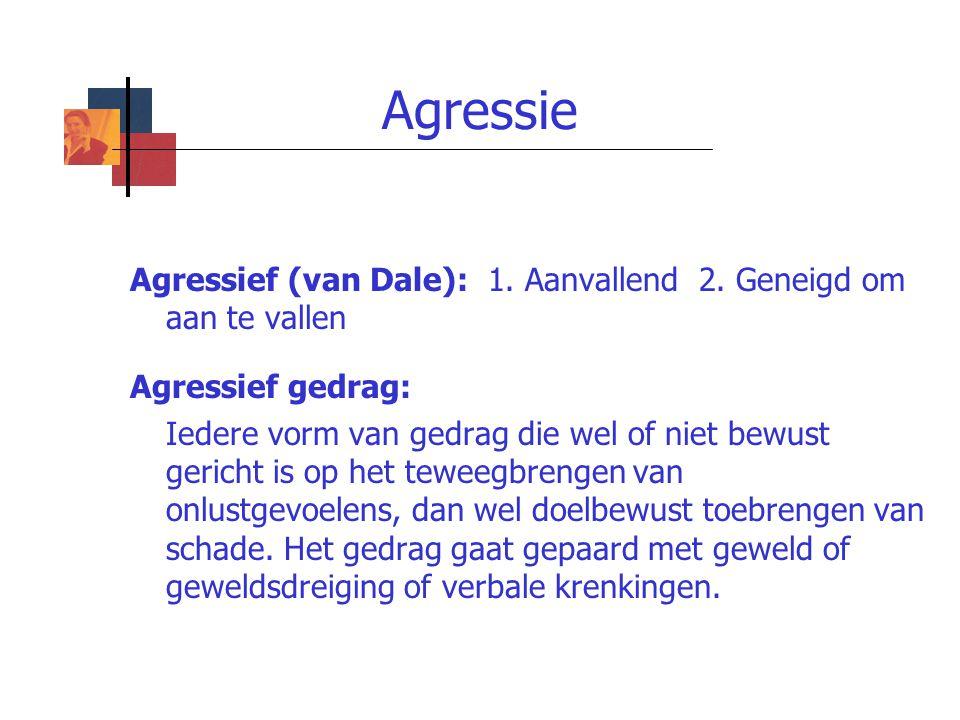 Agressie Agressief (van Dale): 1. Aanvallend 2. Geneigd om aan te vallen. Agressief gedrag: