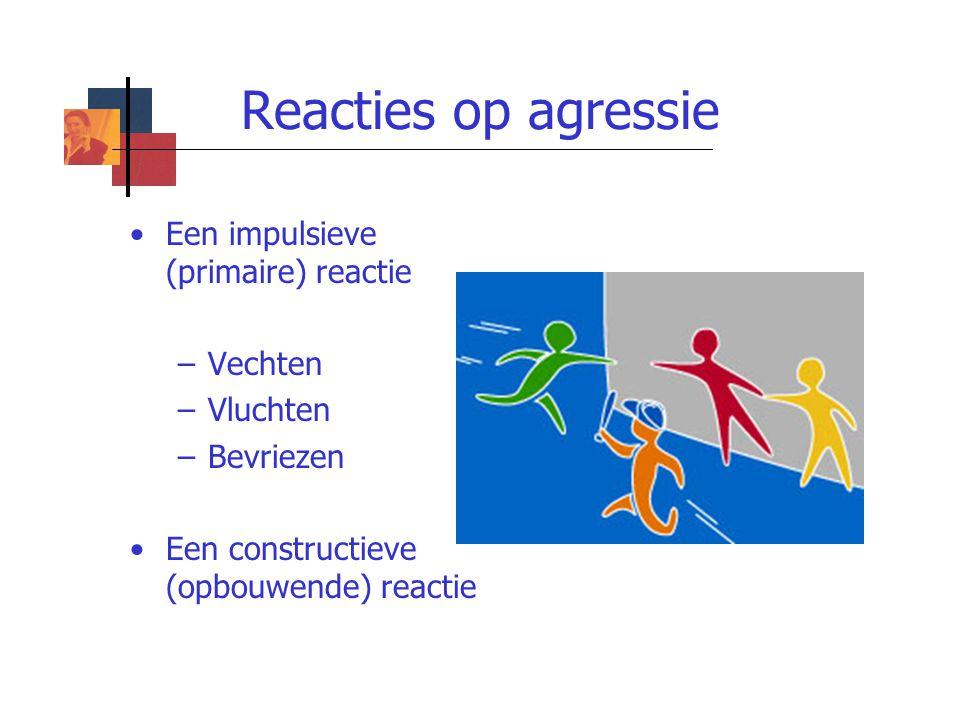 Reacties op agressie Een impulsieve (primaire) reactie Vechten