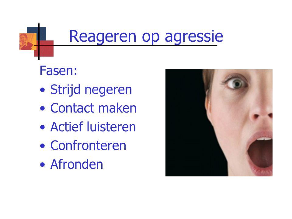 Reageren op agressie Fasen: Strijd negeren Contact maken
