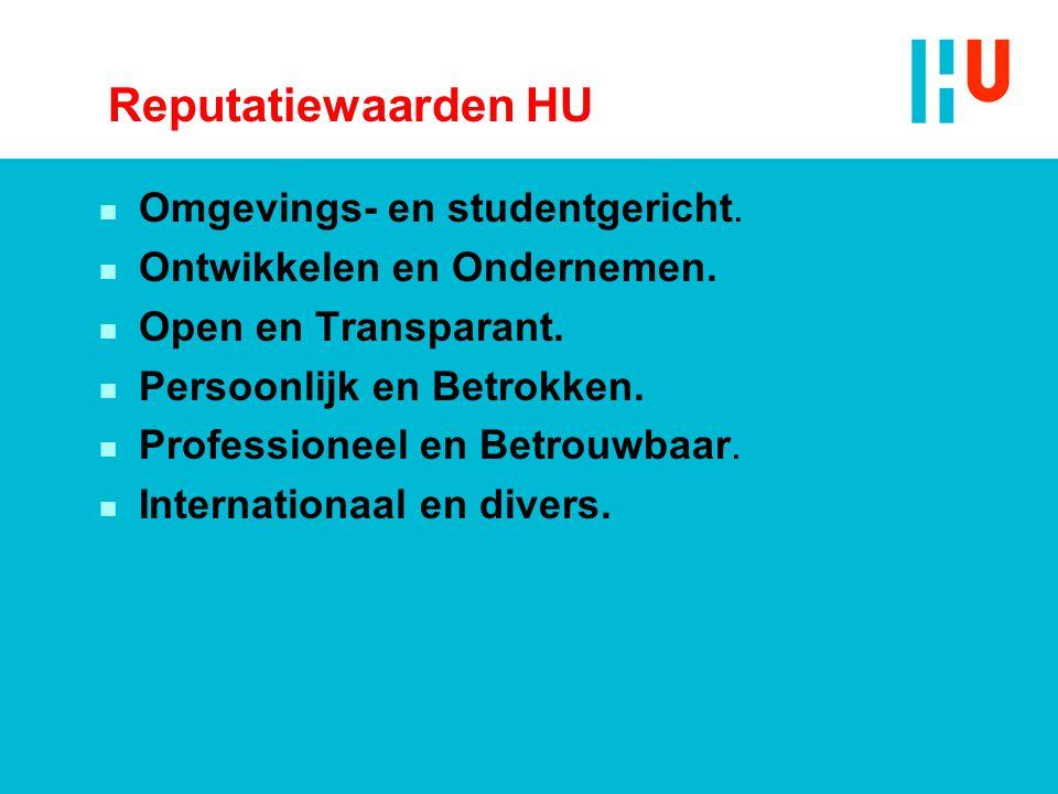 Reputatiewaarden HU Omgevings- en studentgericht.