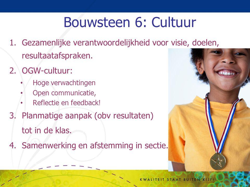 Bouwsteen 6: Cultuur Gezamenlijke verantwoordelijkheid voor visie, doelen, resultaatafspraken. OGW-cultuur: