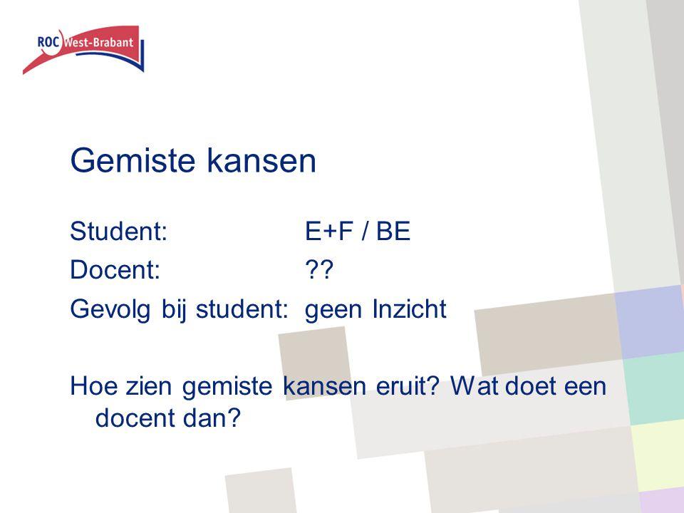 Gemiste kansen Student: E+F / BE Docent: .
