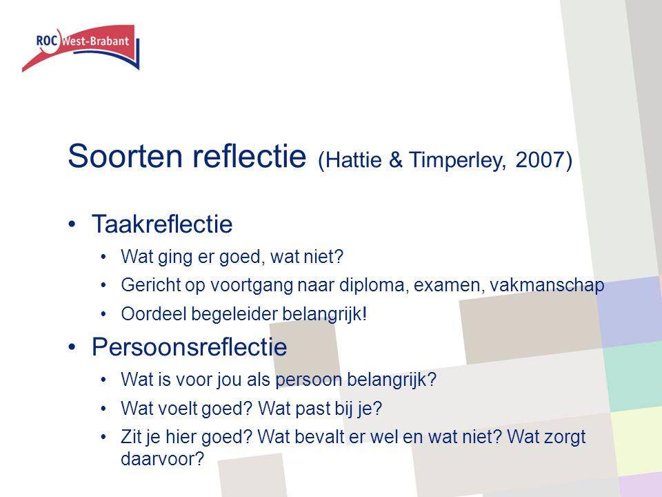 Soorten reflectie (Hattie & Timperley, 2007)