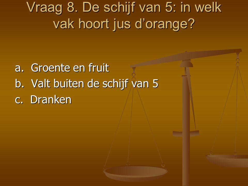 Vraag 8. De schijf van 5: in welk vak hoort jus d'orange