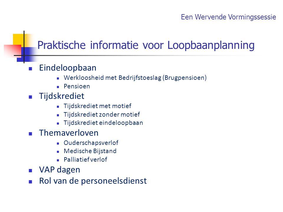 Praktische informatie voor Loopbaanplanning