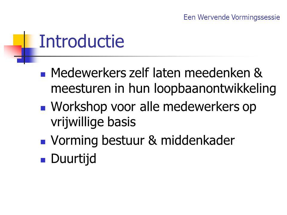Introductie Een Wervende Vormingssessie. Medewerkers zelf laten meedenken & meesturen in hun loopbaanontwikkeling.