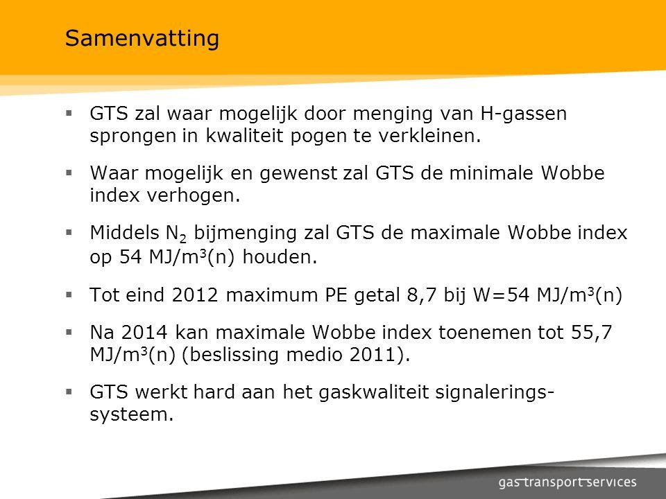 Samenvatting GTS zal waar mogelijk door menging van H-gassen sprongen in kwaliteit pogen te verkleinen.