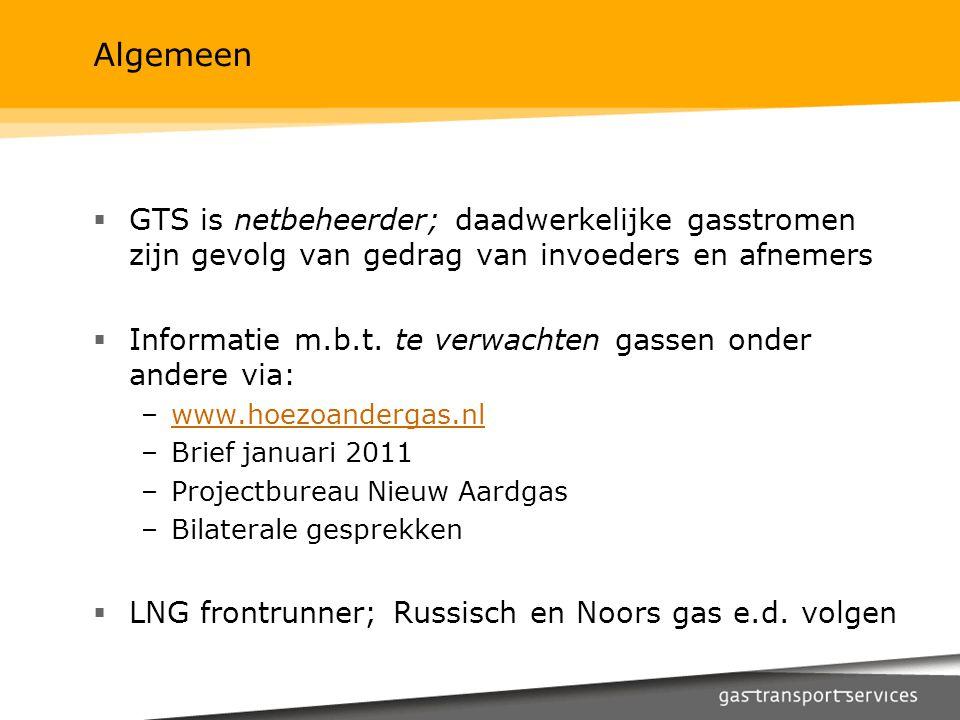 Algemeen GTS is netbeheerder; daadwerkelijke gasstromen zijn gevolg van gedrag van invoeders en afnemers.