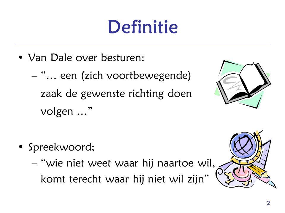 Definitie Van Dale over besturen: … een (zich voortbewegende)