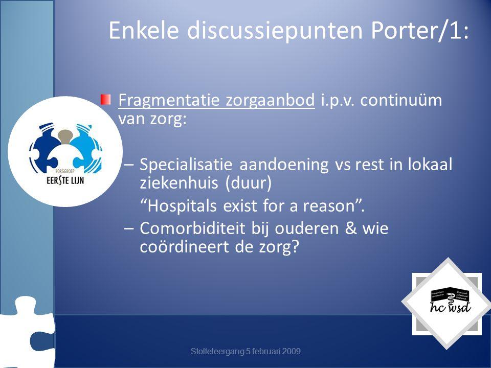 Enkele discussiepunten Porter/1: