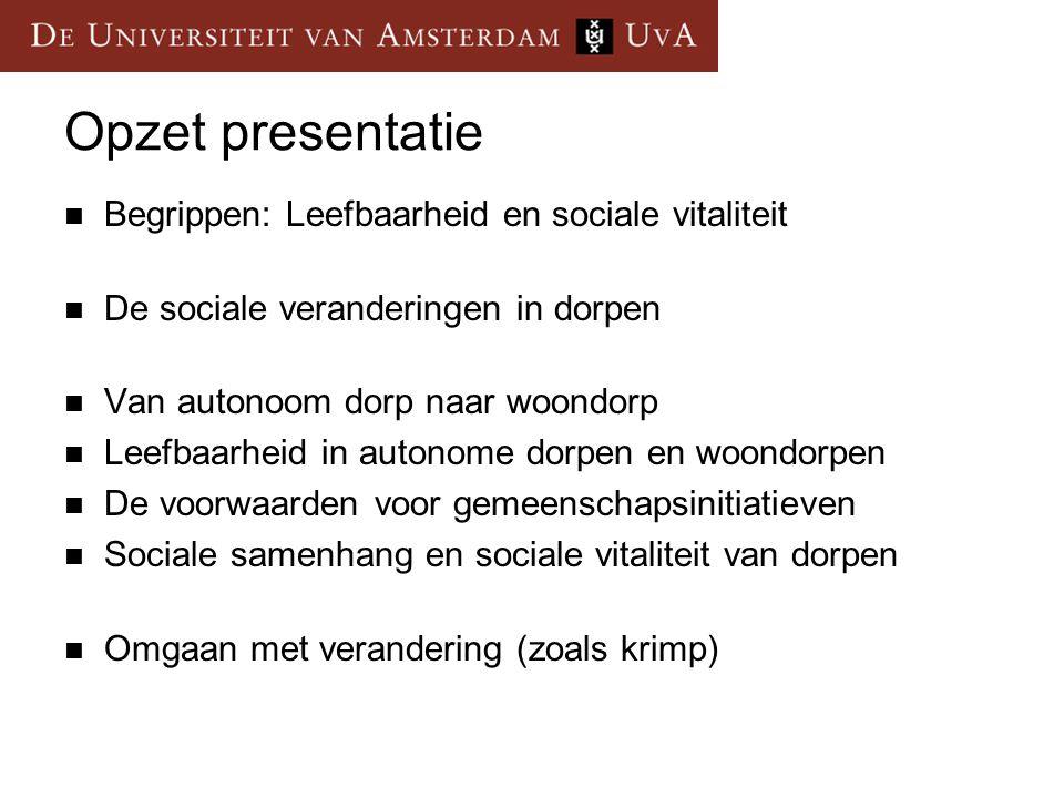 Opzet presentatie Begrippen: Leefbaarheid en sociale vitaliteit