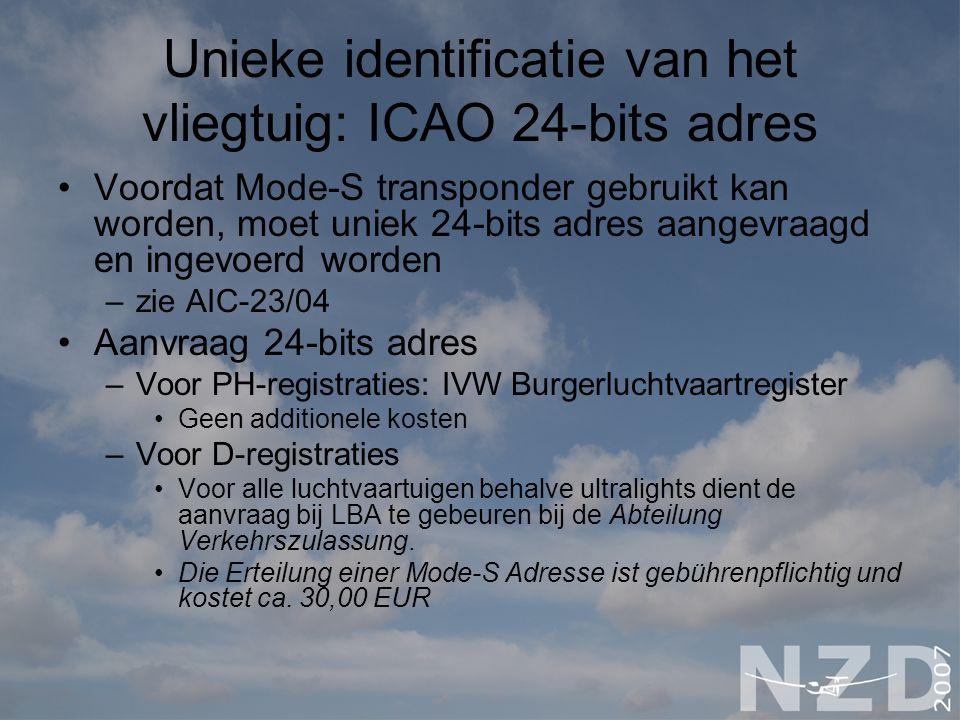 Unieke identificatie van het vliegtuig: ICAO 24-bits adres