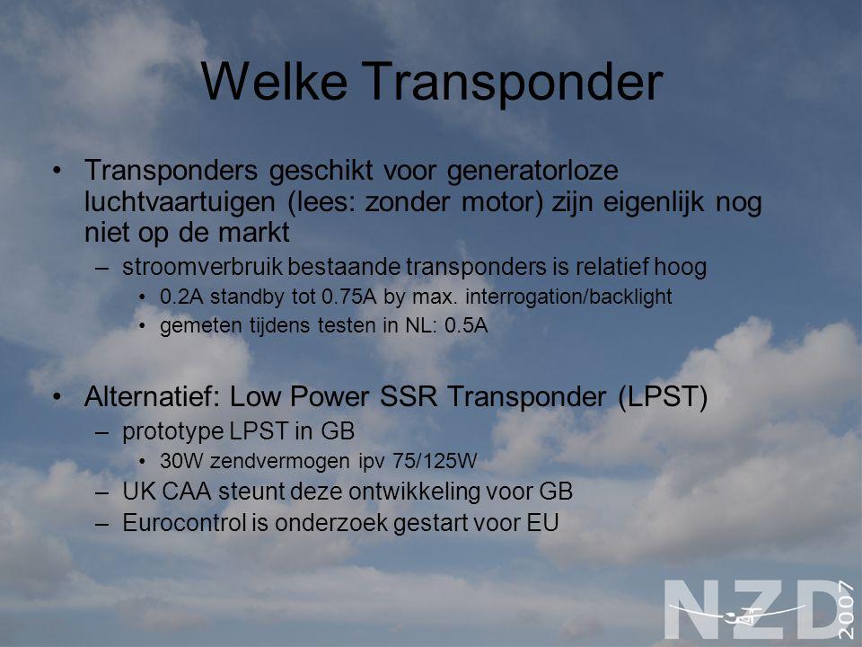 Welke Transponder Transponders geschikt voor generatorloze luchtvaartuigen (lees: zonder motor) zijn eigenlijk nog niet op de markt.