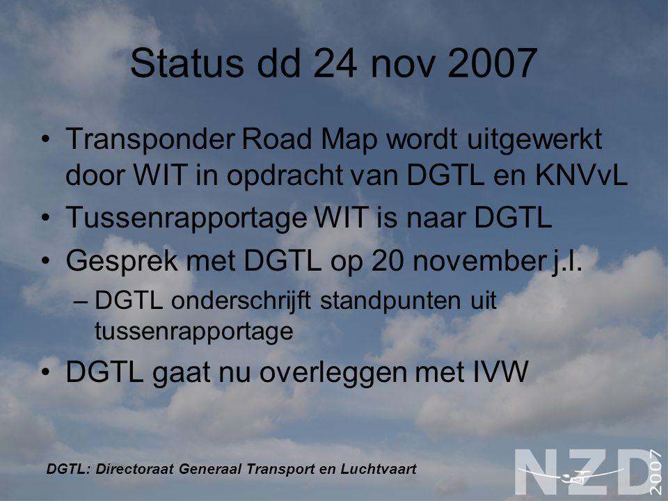 Status dd 24 nov 2007 Transponder Road Map wordt uitgewerkt door WIT in opdracht van DGTL en KNVvL.