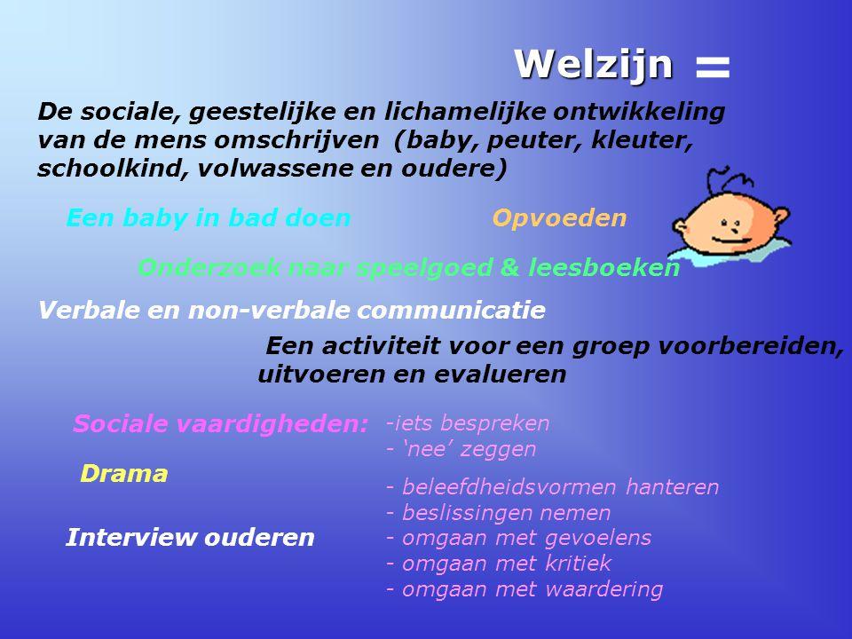 = Welzijn. De sociale, geestelijke en lichamelijke ontwikkeling van de mens omschrijven (baby, peuter, kleuter, schoolkind, volwassene en oudere)