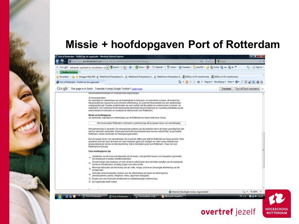 Missie + hoofdopgaven Port of Rotterdam
