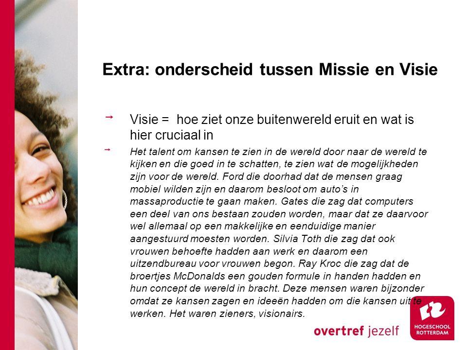 Extra: onderscheid tussen Missie en Visie