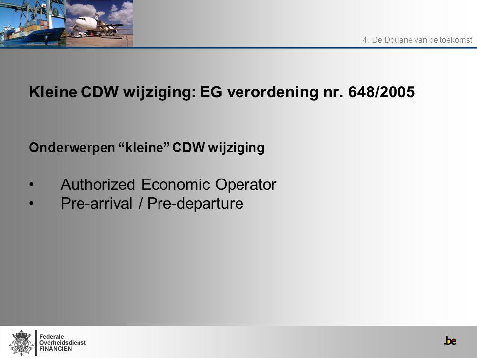 Kleine CDW wijziging: EG verordening nr. 648/2005