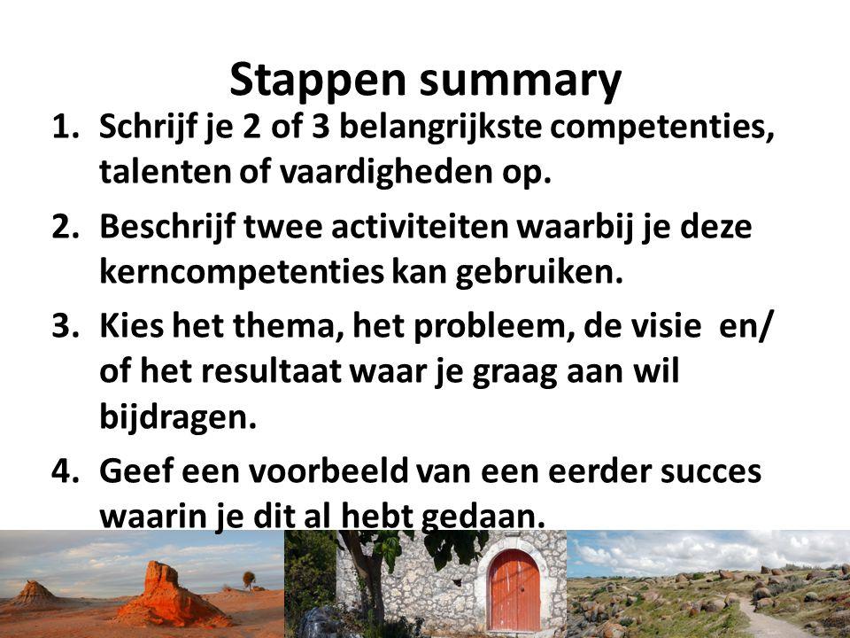 Stappen summary Schrijf je 2 of 3 belangrijkste competenties, talenten of vaardigheden op.