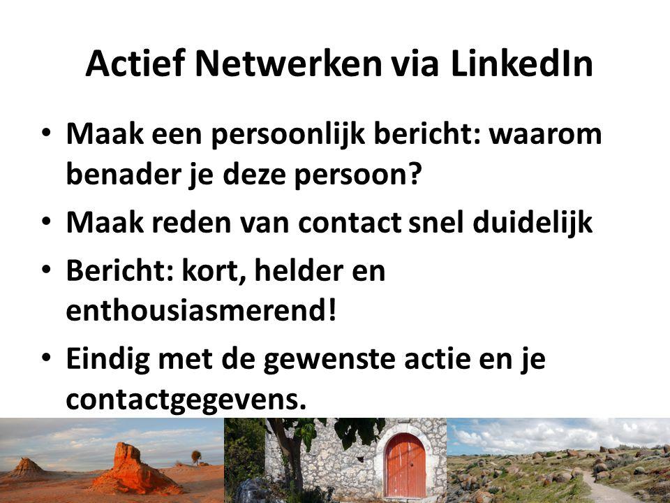 Actief Netwerken via LinkedIn