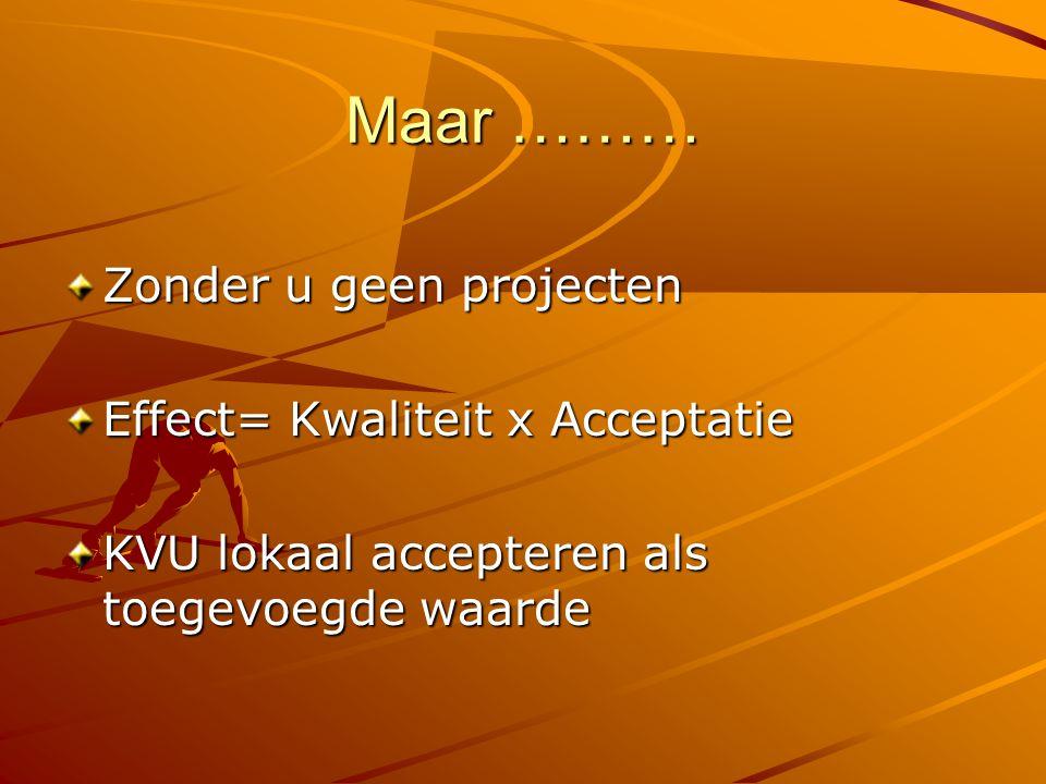 Maar ……… Zonder u geen projecten Effect= Kwaliteit x Acceptatie