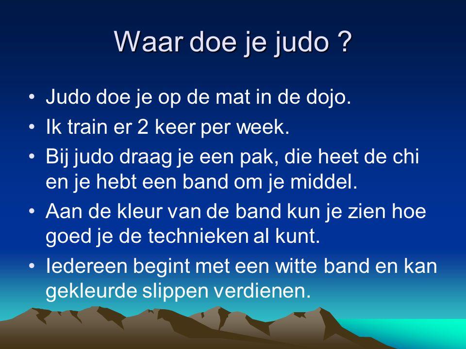 Waar doe je judo Judo doe je op de mat in de dojo.