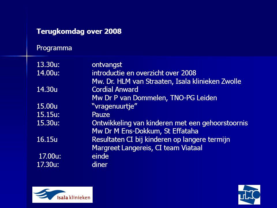 Terugkomdag over 2008 Programma. 13.30u: ontvangst. 14.00u: introductie en overzicht over 2008.