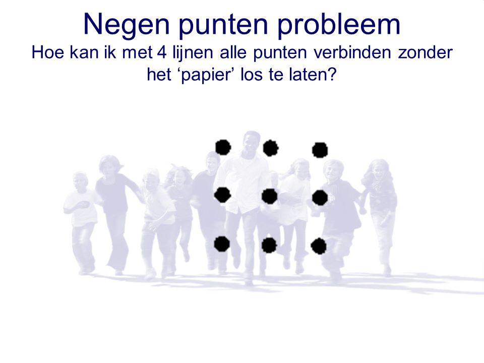 Negen punten probleem Hoe kan ik met 4 lijnen alle punten verbinden zonder het 'papier' los te laten
