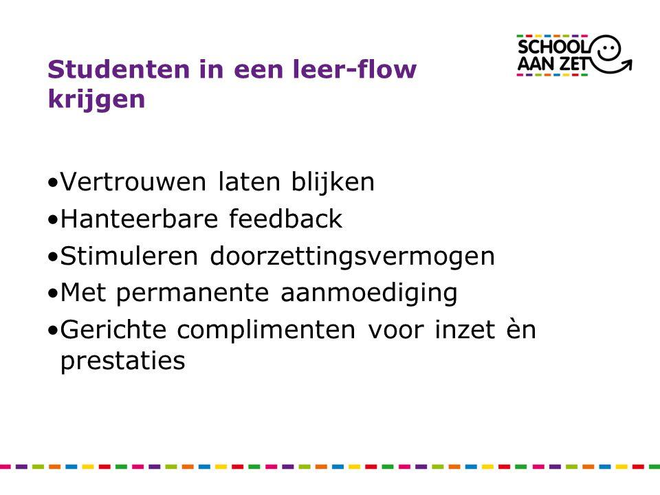 Studenten in een leer-flow krijgen
