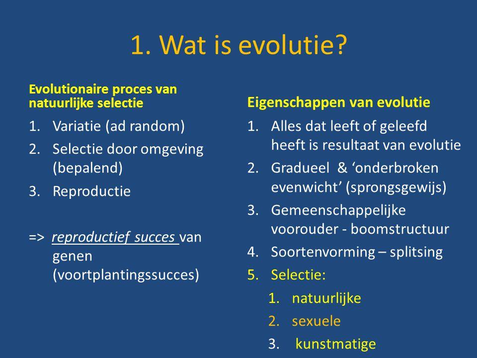 1. Wat is evolutie Eigenschappen van evolutie Variatie (ad random)