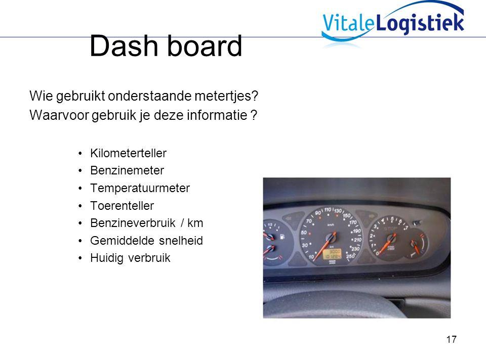 Dash board Wie gebruikt onderstaande metertjes