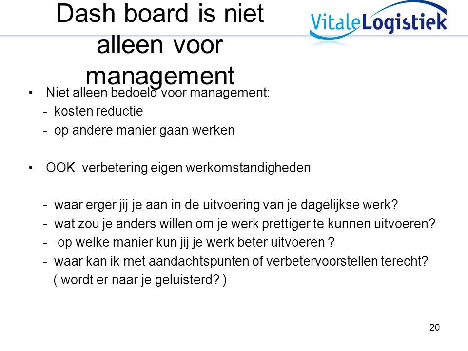 Dash board is niet alleen voor management