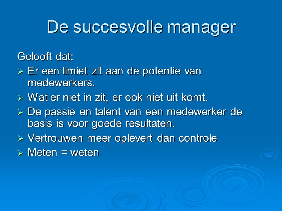 De succesvolle manager
