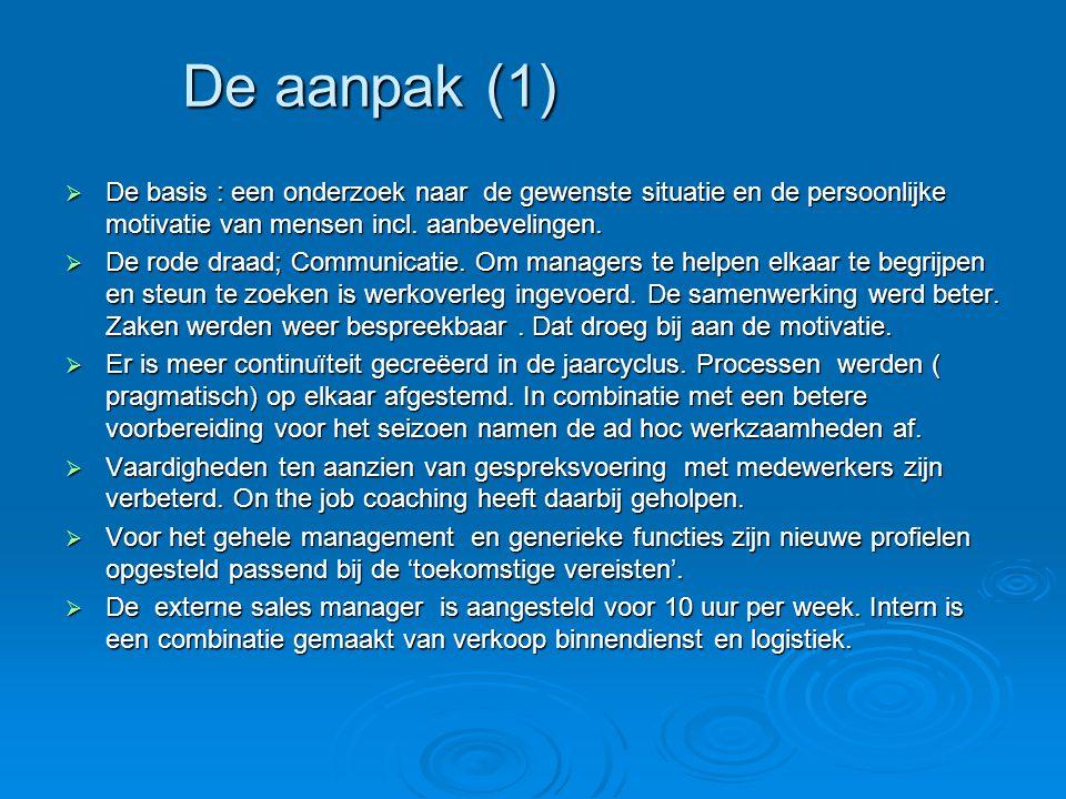 De aanpak (1) De basis : een onderzoek naar de gewenste situatie en de persoonlijke motivatie van mensen incl. aanbevelingen.
