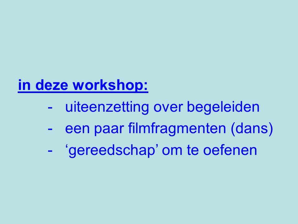 in deze workshop: - uiteenzetting over begeleiden.