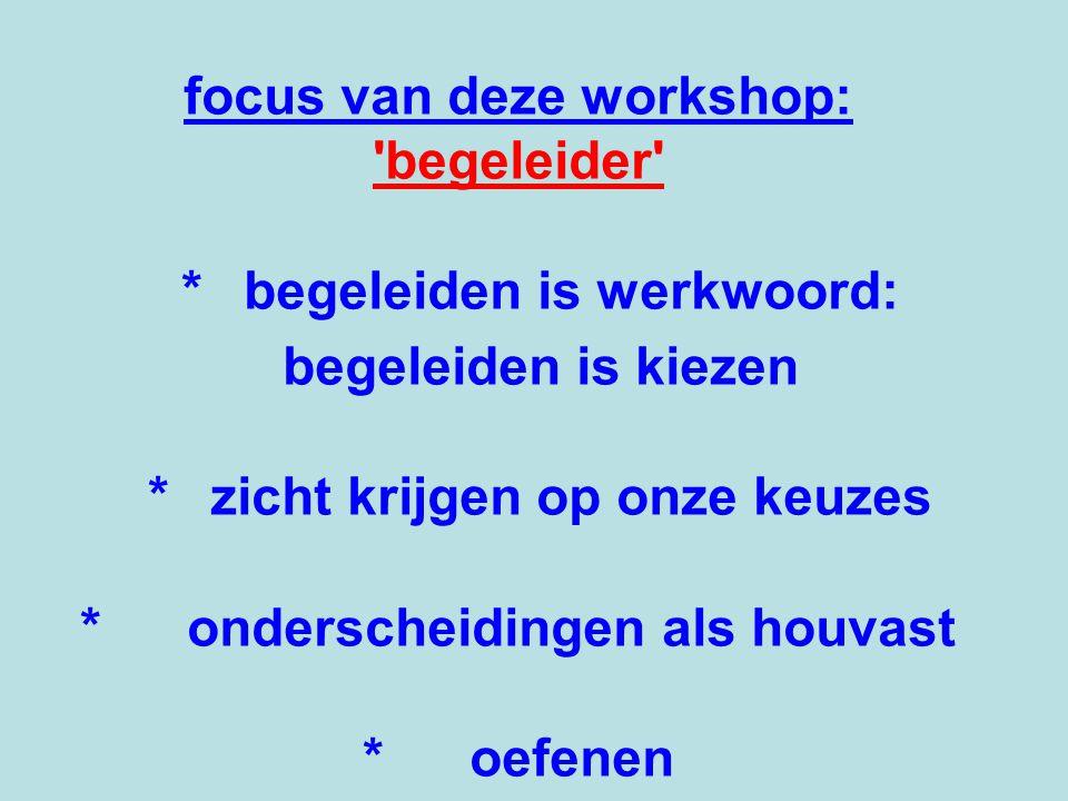 focus van deze workshop: begeleider