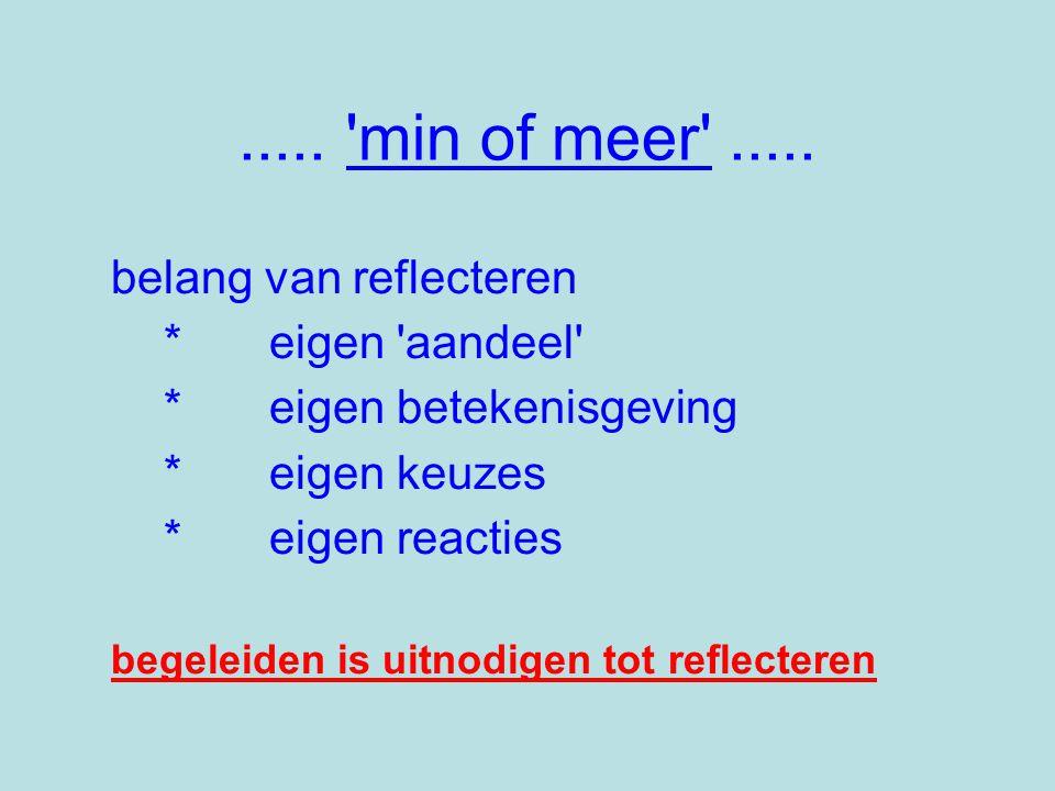 ..... min of meer ..... belang van reflecteren * eigen aandeel