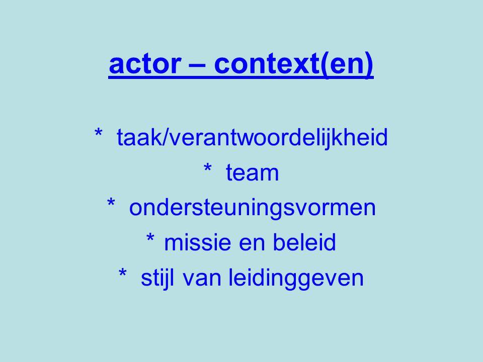 actor – context(en) * taak/verantwoordelijkheid * team