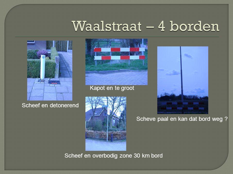 Waalstraat – 4 borden Kapot en te groot Scheef en detonerend