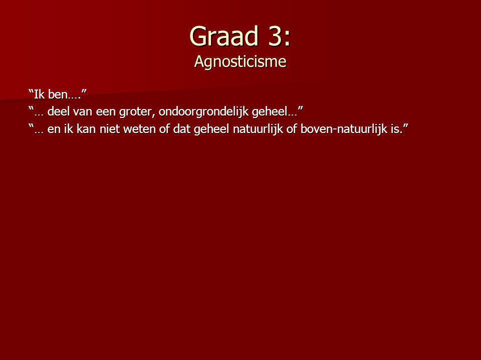 Graad 3: Agnosticisme Ik ben….