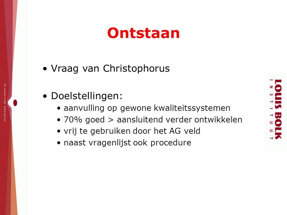 Ontstaan Vraag van Christophorus Doelstellingen: