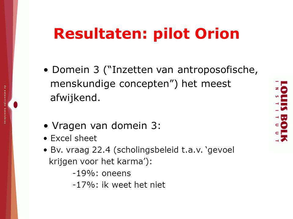 Resultaten: pilot Orion