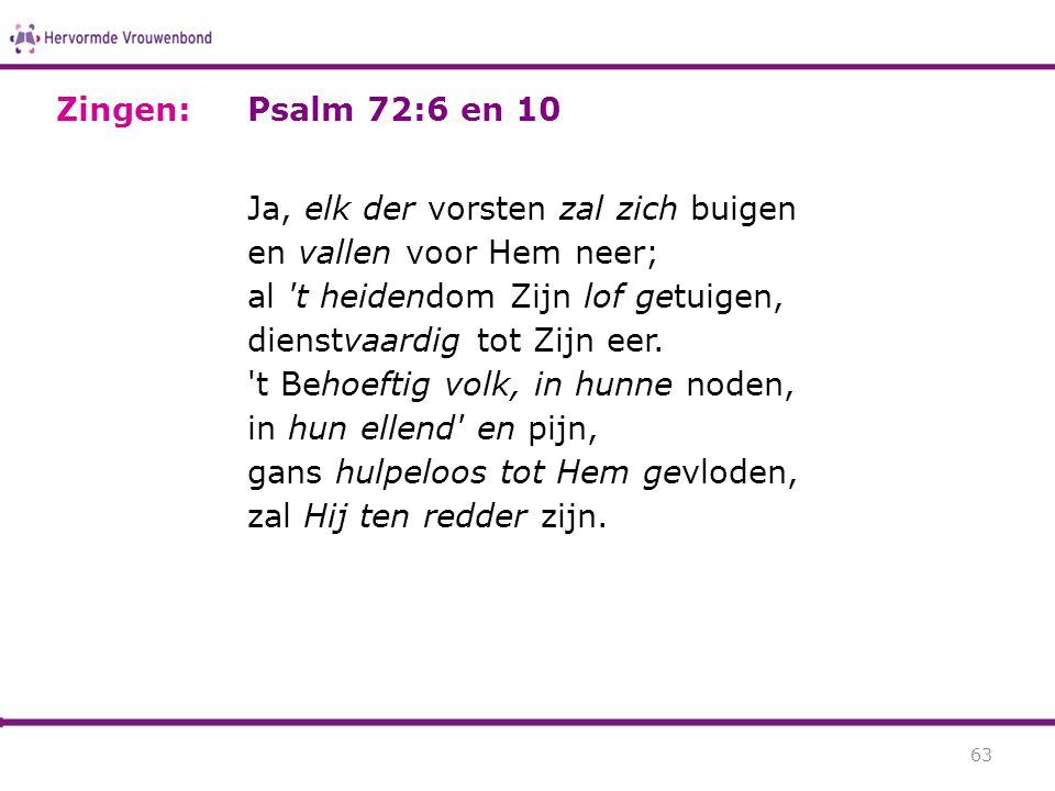 Zingen: Psalm 72:6 en 10.