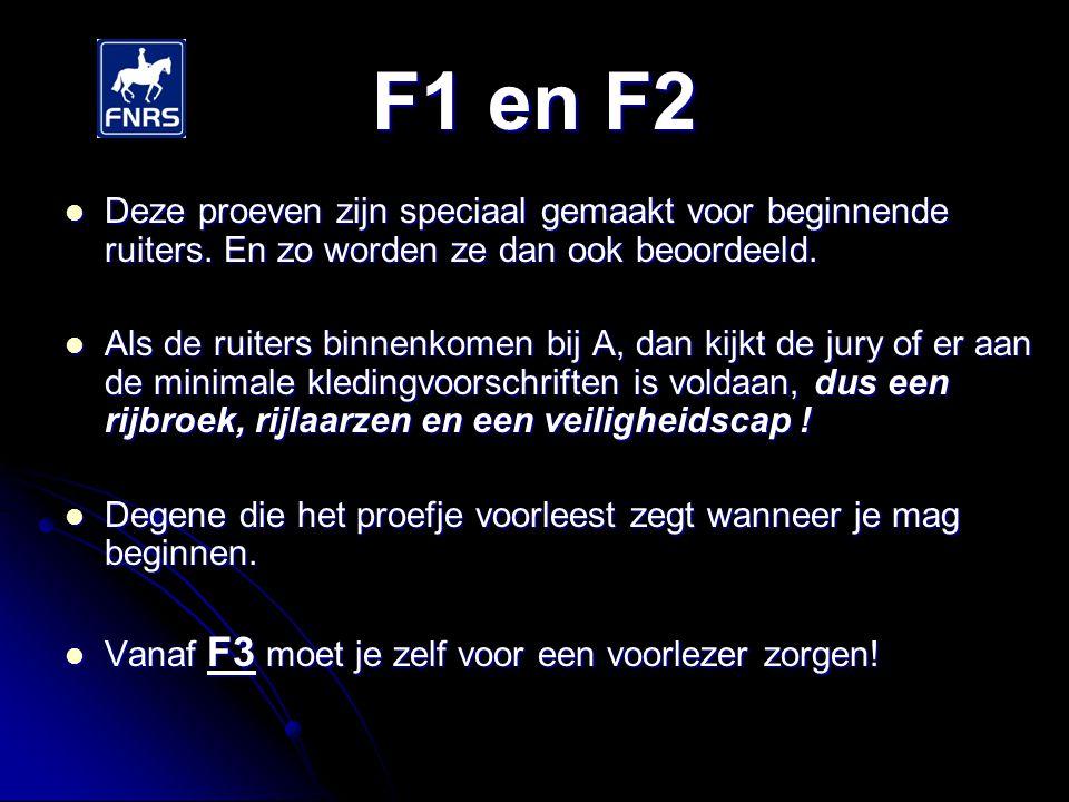 F1 en F2 Deze proeven zijn speciaal gemaakt voor beginnende ruiters. En zo worden ze dan ook beoordeeld.