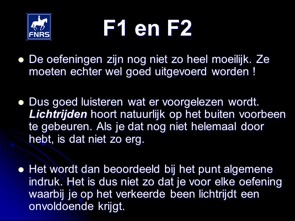 F1 en F2 De oefeningen zijn nog niet zo heel moeilijk. Ze moeten echter wel goed uitgevoerd worden !