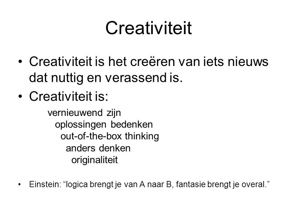 Creativiteit Creativiteit is het creëren van iets nieuws dat nuttig en verassend is. Creativiteit is: