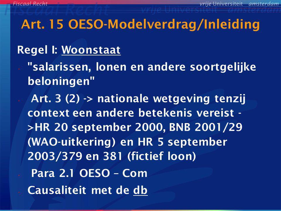 Art. 15 OESO-Modelverdrag/Inleiding