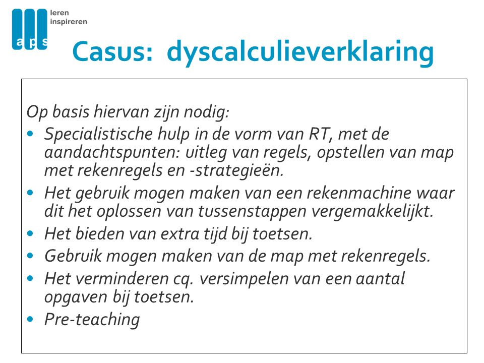 Casus: dyscalculieverklaring