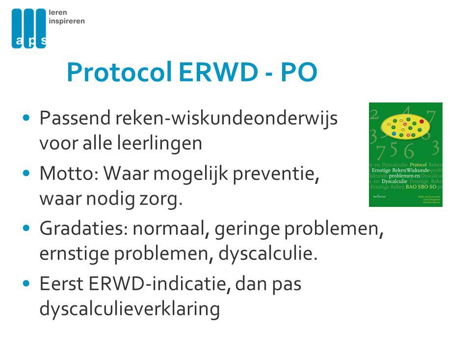Protocol ERWD - PO Passend reken-wiskundeonderwijs voor alle leerlingen. Motto: Waar mogelijk preventie, waar nodig zorg.